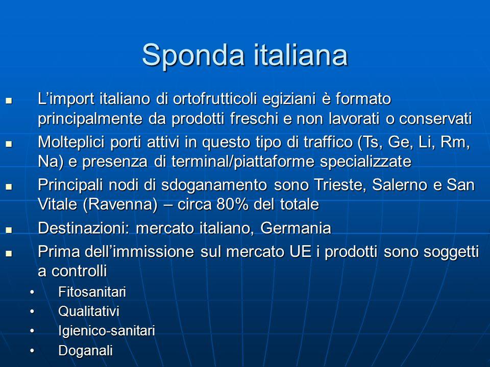 Sponda italiana L'import italiano di ortofrutticoli egiziani è formato principalmente da prodotti freschi e non lavorati o conservati L'import italiano di ortofrutticoli egiziani è formato principalmente da prodotti freschi e non lavorati o conservati Molteplici porti attivi in questo tipo di traffico (Ts, Ge, Li, Rm, Na) e presenza di terminal/piattaforme specializzate Molteplici porti attivi in questo tipo di traffico (Ts, Ge, Li, Rm, Na) e presenza di terminal/piattaforme specializzate Principali nodi di sdoganamento sono Trieste, Salerno e San Vitale (Ravenna) – circa 80% del totale Principali nodi di sdoganamento sono Trieste, Salerno e San Vitale (Ravenna) – circa 80% del totale Destinazioni: mercato italiano, Germania Destinazioni: mercato italiano, Germania Prima dell'immissione sul mercato UE i prodotti sono soggetti a controlli Prima dell'immissione sul mercato UE i prodotti sono soggetti a controlli FitosanitariFitosanitari QualitativiQualitativi Igienico-sanitariIgienico-sanitari DoganaliDoganali