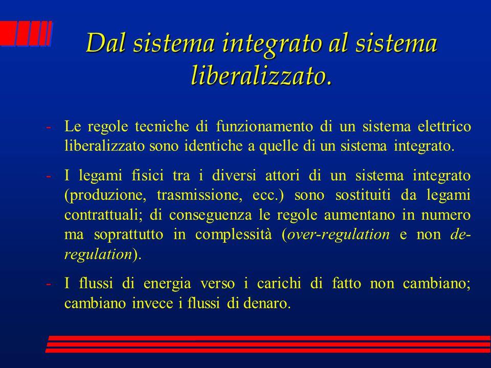 Dal sistema integrato al sistema liberalizzato. -Le regole tecniche di funzionamento di un sistema elettrico liberalizzato sono identiche a quelle di