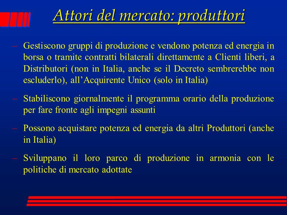 Attori del mercato: produttori –Gestiscono gruppi di produzione e vendono potenza ed energia in borsa o tramite contratti bilaterali direttamente a Cl