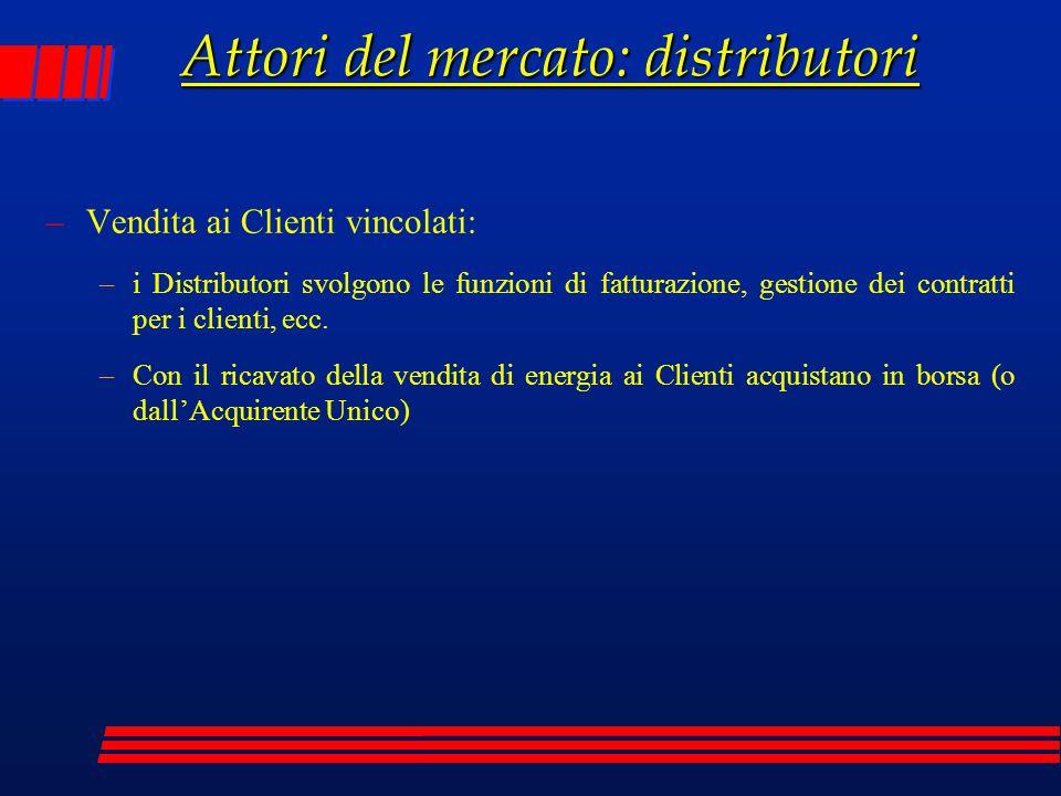 Attori del mercato: distributori –Vendita ai Clienti vincolati: –i Distributori svolgono le funzioni di fatturazione, gestione dei contratti per i cli