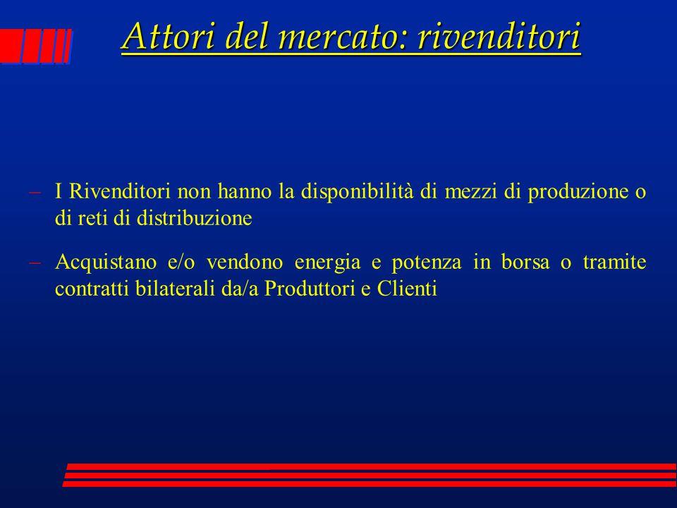 Attori del mercato: rivenditori –I Rivenditori non hanno la disponibilità di mezzi di produzione o di reti di distribuzione –Acquistano e/o vendono en