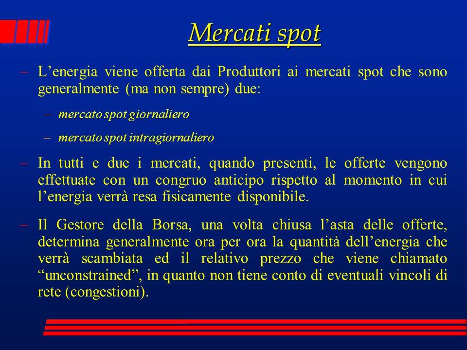 Mercati spot –L'energia viene offerta dai Produttori ai mercati spot che sono generalmente (ma non sempre) due: –mercato spot giornaliero –mercato spo