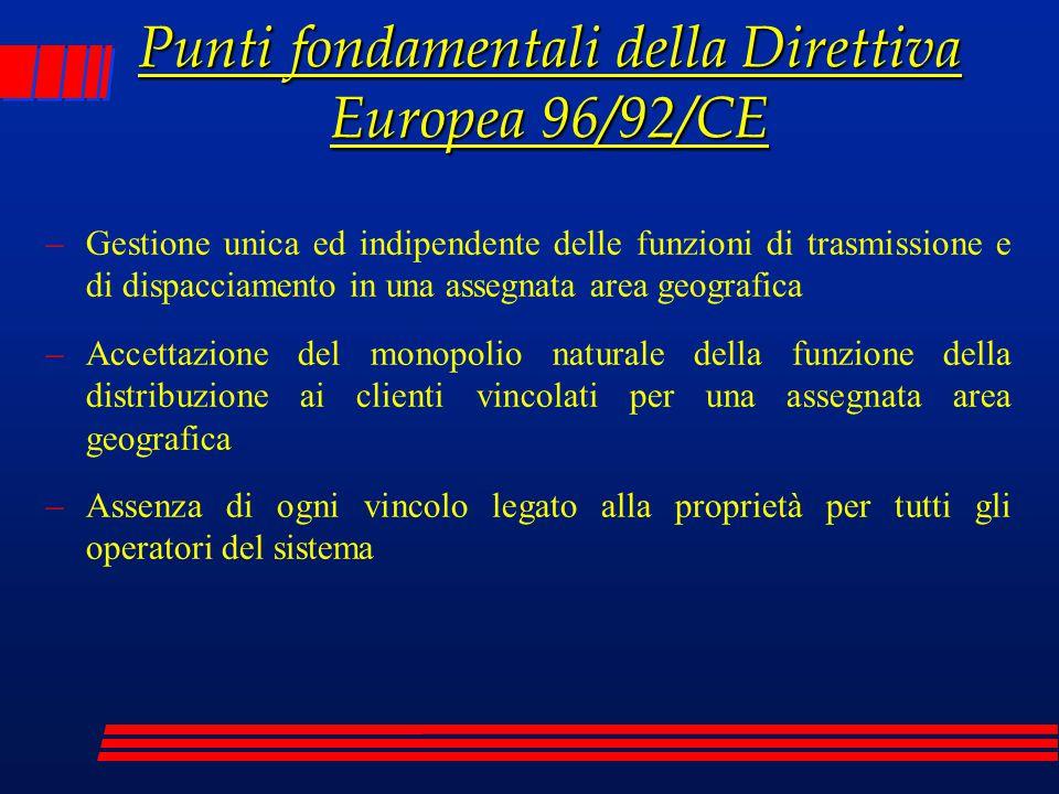 Punti fondamentali della Direttiva Europea 96/92/CE –Gestione unica ed indipendente delle funzioni di trasmissione e di dispacciamento in una assegnat