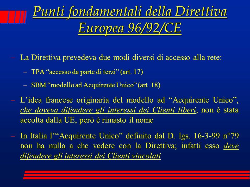 """Punti fondamentali della Direttiva Europea 96/92/CE –La Direttiva prevedeva due modi diversi di accesso alla rete: –TPA """"accesso da parte di terzi"""" (a"""