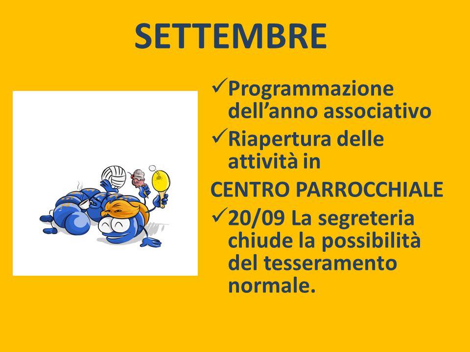 SETTEMBRE Programmazione dell'anno associativo Riapertura delle attività in CENTRO PARROCCHIALE 20/09 La segreteria chiude la possibilità del tesseramento normale.