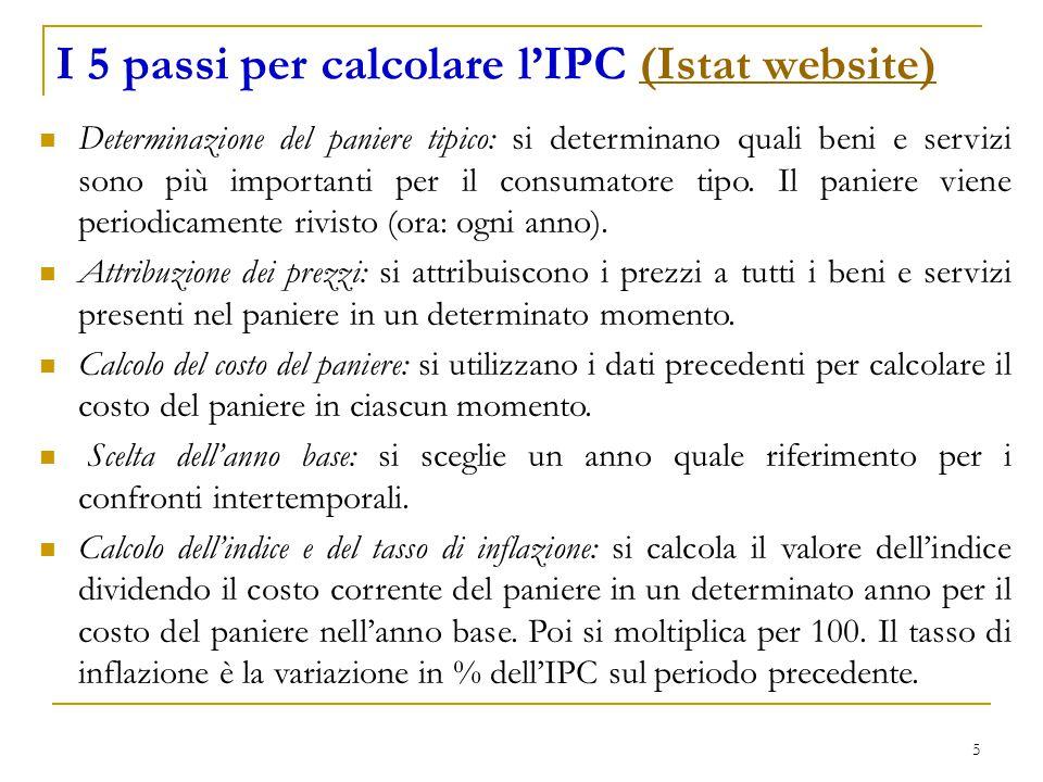 5 I 5 passi per calcolare l'IPC (Istat website)(Istat website) Determinazione del paniere tipico: si determinano quali beni e servizi sono più importanti per il consumatore tipo.