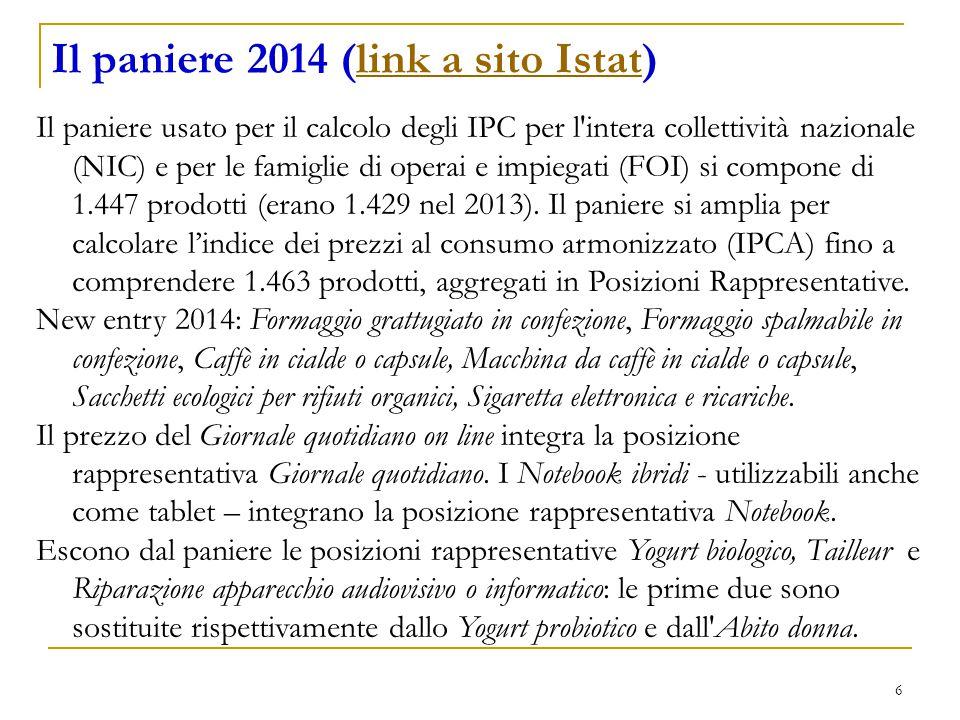 6 Il paniere 2014 (link a sito Istat)link a sito Istat Il paniere usato per il calcolo degli IPC per l intera collettività nazionale (NIC) e per le famiglie di operai e impiegati (FOI) si compone di 1.447 prodotti (erano 1.429 nel 2013).