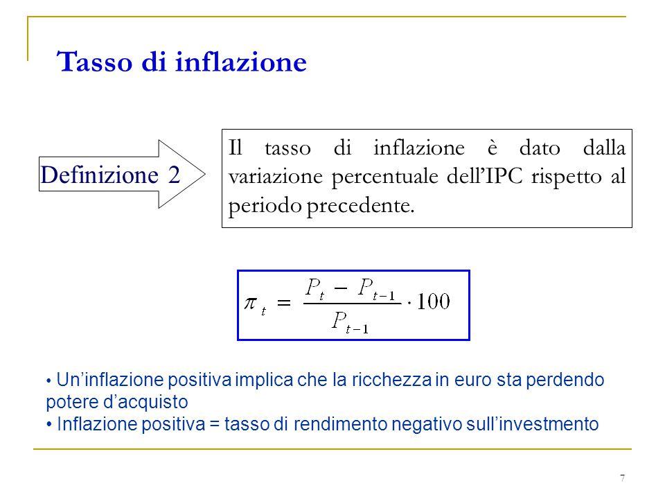 7 Tasso di inflazione Il tasso di inflazione è dato dalla variazione percentuale dell'IPC rispetto al periodo precedente. Definizione 2 Un'inflazione