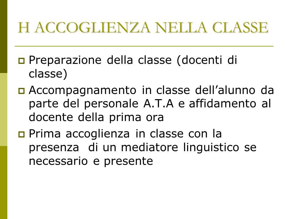 H ACCOGLIENZA NELLA CLASSE  Preparazione della classe (docenti di classe)  Accompagnamento in classe dell'alunno da parte del personale A.T.A e affi
