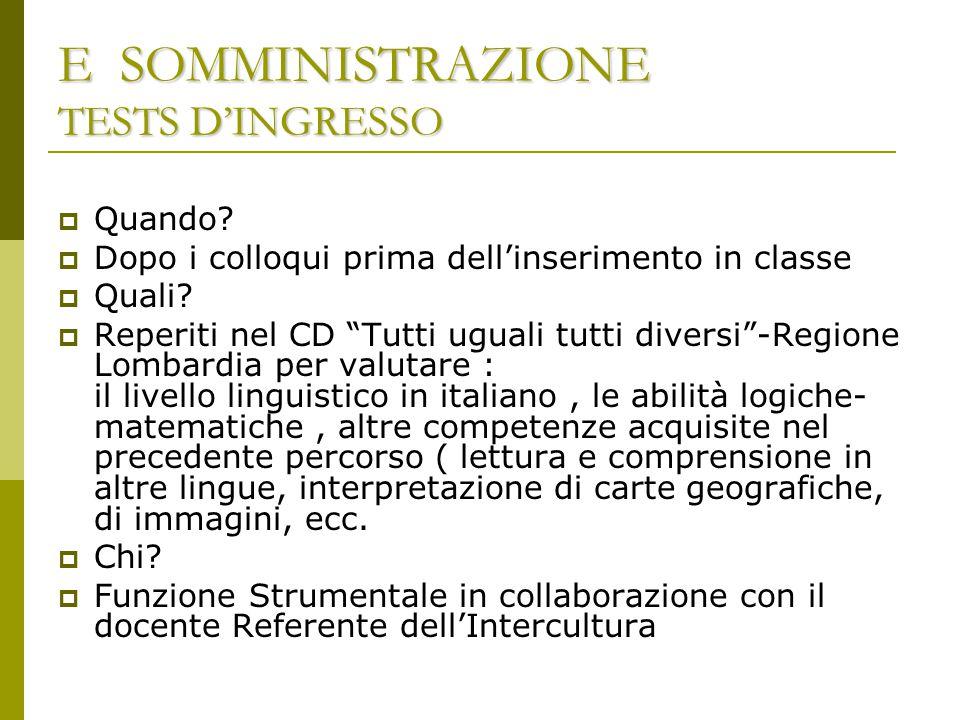 F ASSEGNAZIONE DELLA CLASSE/SEZIONE  Chi .