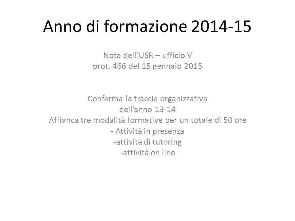 Anno di formazione 2014-15 Nota dell'USR – ufficio V prot. 466 del 15 gennaio 2015 Conferma la traccia organizzativa dell'anno 13-14 Affianca tre moda