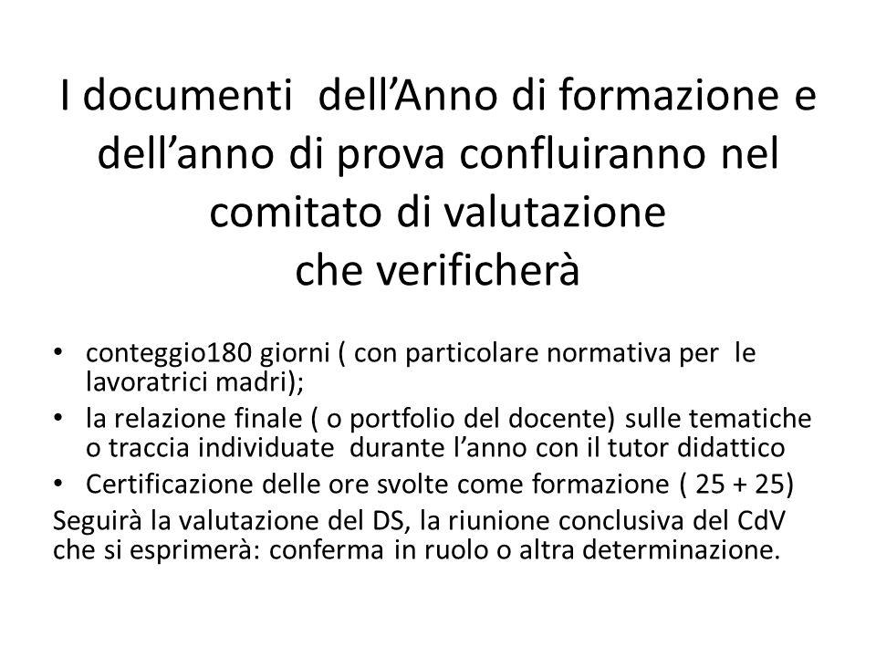 I documenti dell'Anno di formazione e dell'anno di prova confluiranno nel comitato di valutazione che verificherà conteggio180 giorni ( con particolar