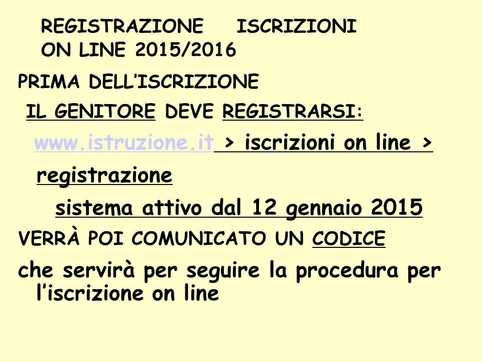REGISTRAZIONE ISCRIZIONI ON LINE 2015/2016 PRIMA DELL'ISCRIZIONE IL GENITORE DEVE REGISTRARSI: www.istruzione.it > iscrizioni on line > www.istruzione