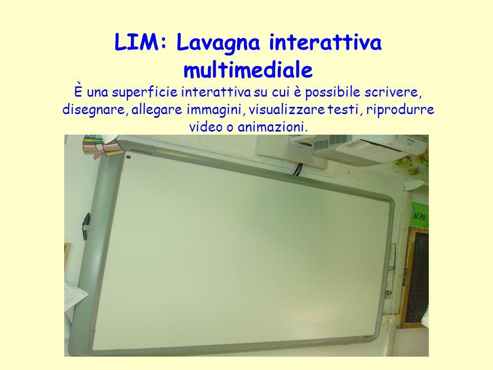 LIM: Lavagna interattiva multimediale È una superficie interattiva su cui è possibile scrivere, disegnare, allegare immagini, visualizzare testi, ripr