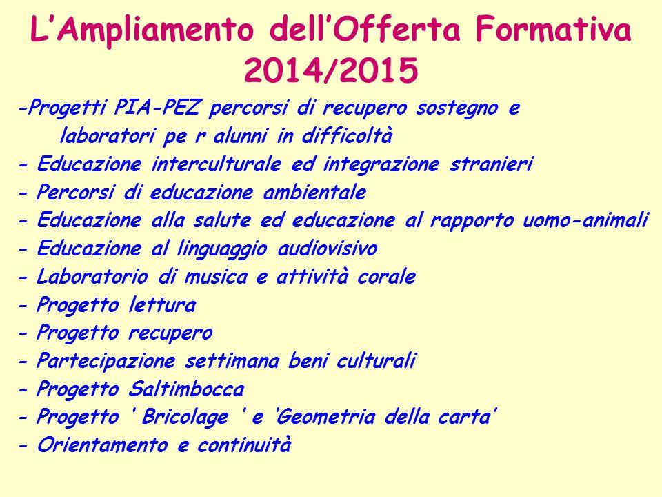 L'Ampliamento dell'Offerta Formativa 2014 / 2015 -Progetti PIA-PEZ percorsi di recupero sostegno e laboratori pe r alunni in difficoltà - Educazione i