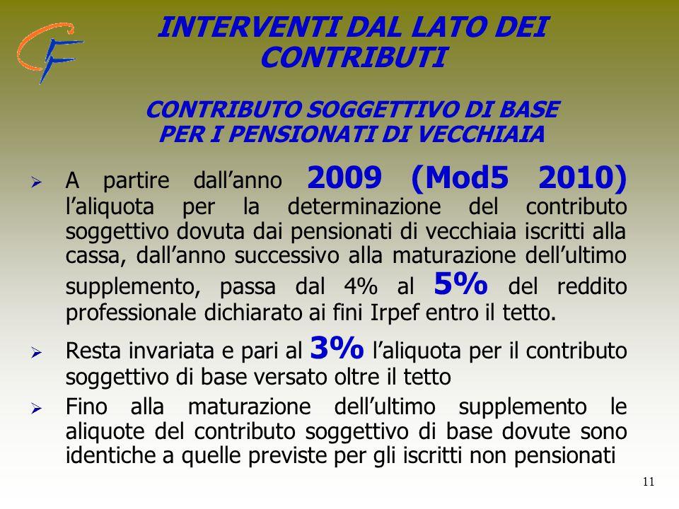 11 INTERVENTI DAL LATO DEI CONTRIBUTI CONTRIBUTO SOGGETTIVO DI BASE PER I PENSIONATI DI VECCHIAIA   A partire dall'anno 2009 (Mod5 2010) l'aliquota