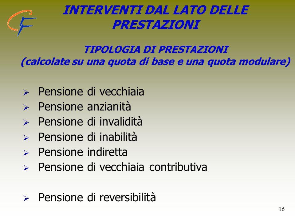 16 INTERVENTI DAL LATO DELLE PRESTAZIONI TIPOLOGIA DI PRESTAZIONI (calcolate su una quota di base e una quota modulare)   Pensione di vecchiaia  