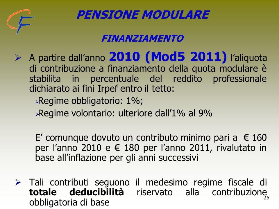 26 PENSIONE MODULARE FINANZIAMENTO   A partire dall'anno 2010 (Mod5 2011) l'aliquota di contribuzione a finanziamento della quota modulare è stabili