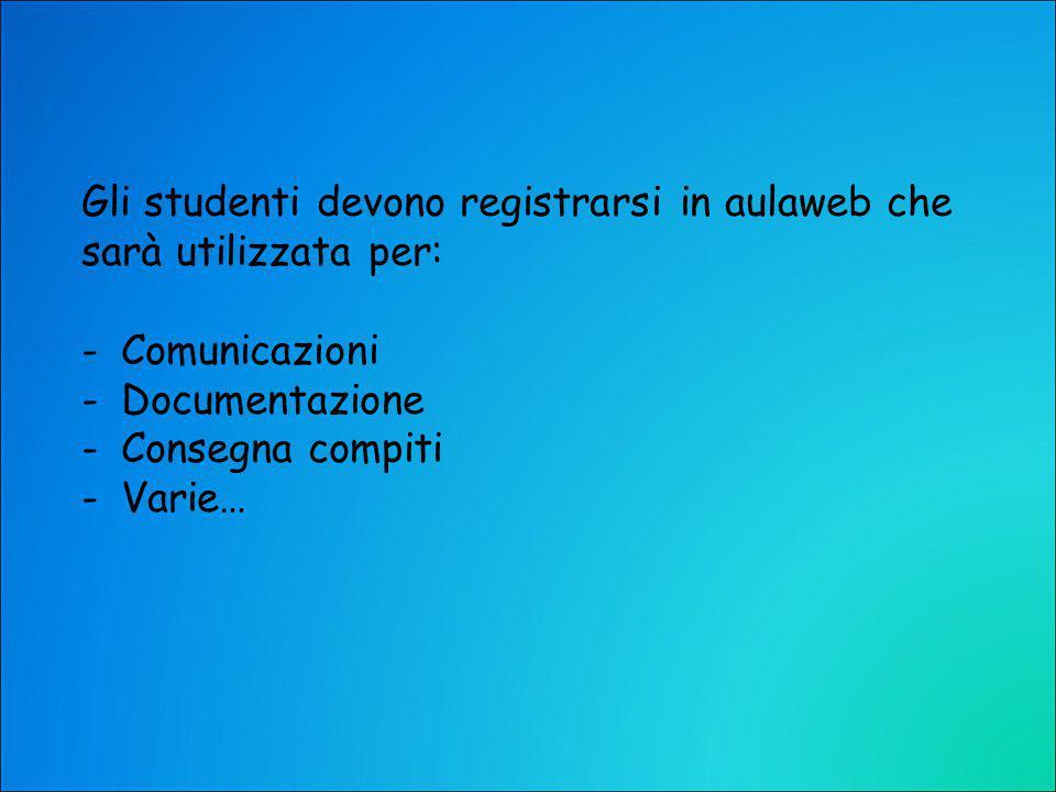 Gli studenti devono registrarsi in aulaweb che sarà utilizzata per: -Comunicazioni -Documentazione -Consegna compiti -Varie…