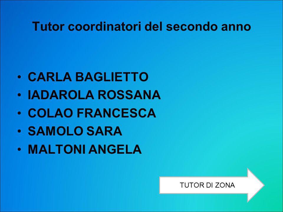 Tutor coordinatori del secondo anno CARLA BAGLIETTO IADAROLA ROSSANA COLAO FRANCESCA SAMOLO SARA MALTONI ANGELA TUTOR DI ZONA