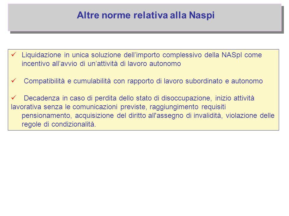 Liquidazione in unica soluzione dell'importo complessivo della NASpI come incentivo all'avvio di un'attività di lavoro autonomo Compatibilità e cumula