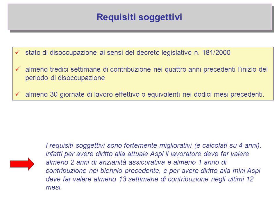 Requisiti soggettivi stato di disoccupazione ai sensi del decreto legislativo n. 181/2000 almeno tredici settimane di contribuzione nei quattro anni p