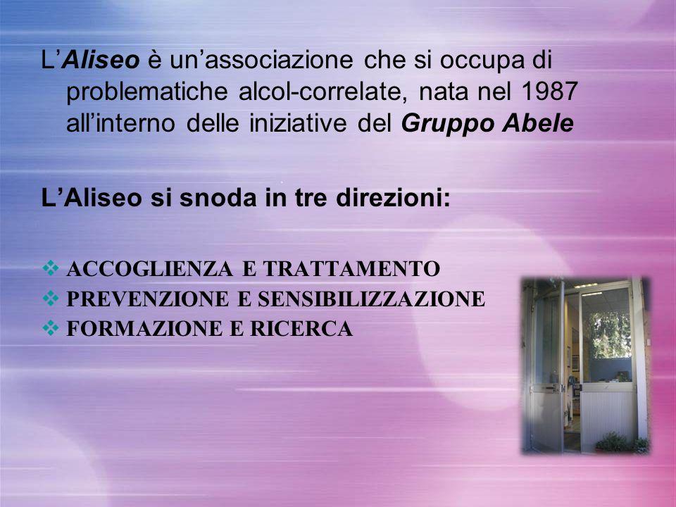 L'Aliseo è un'associazione che si occupa di problematiche alcol-correlate, nata nel 1987 all'interno delle iniziative del Gruppo Abele L'Aliseo si sno