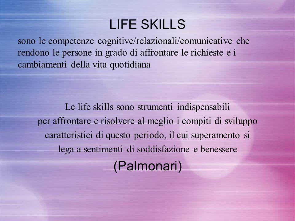 LIFE SKILLS sono le competenze cognitive/relazionali/comunicative che rendono le persone in grado di affrontare le richieste e i cambiamenti della vit