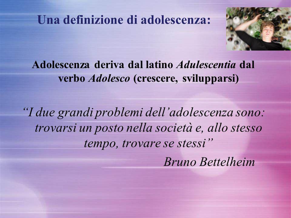 """Una definizione di adolescenza: Adolescenza deriva dal latino Adulescentia dal verbo Adolesco (crescere, svilupparsi) """"I due grandi problemi dell'adol"""