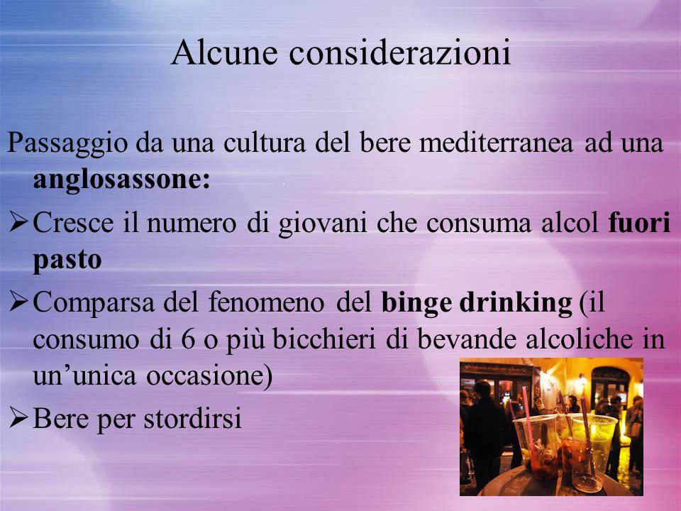 Alcune considerazioni Passaggio da una cultura del bere mediterranea ad una anglosassone:  Cresce il numero di giovani che consuma alcol fuori pasto