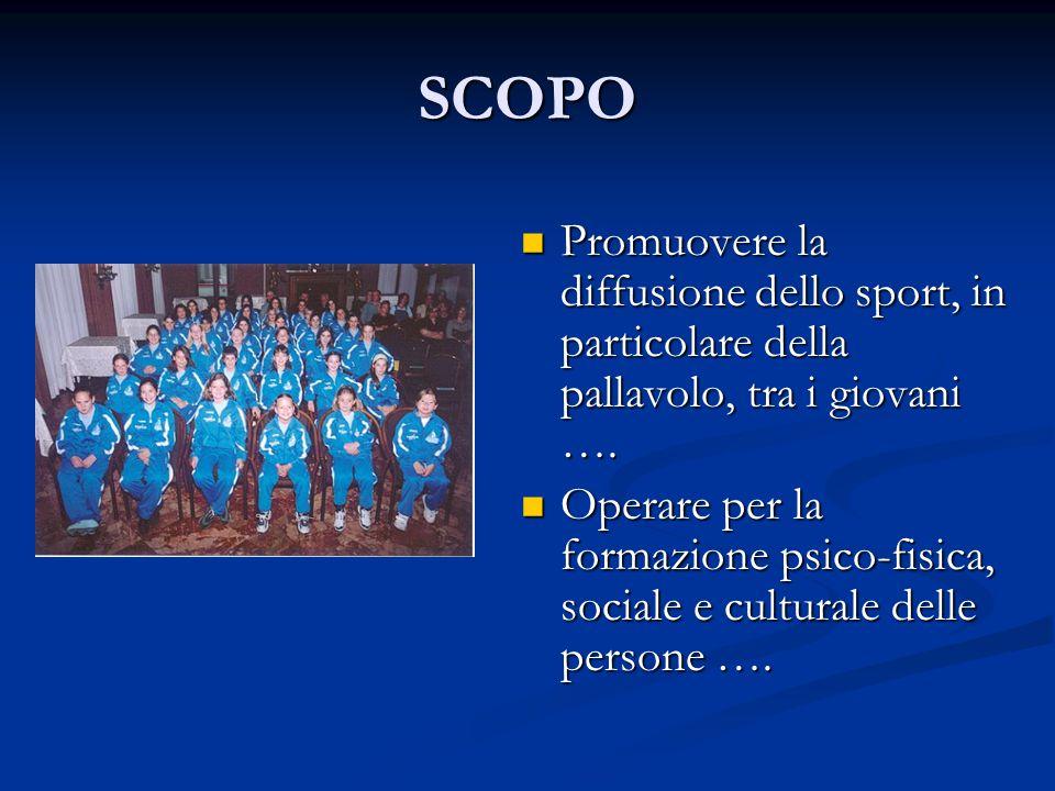 SCOPO Promuovere la diffusione dello sport, in particolare della pallavolo, tra i giovani …. Operare per la formazione psico-fisica, sociale e cultura
