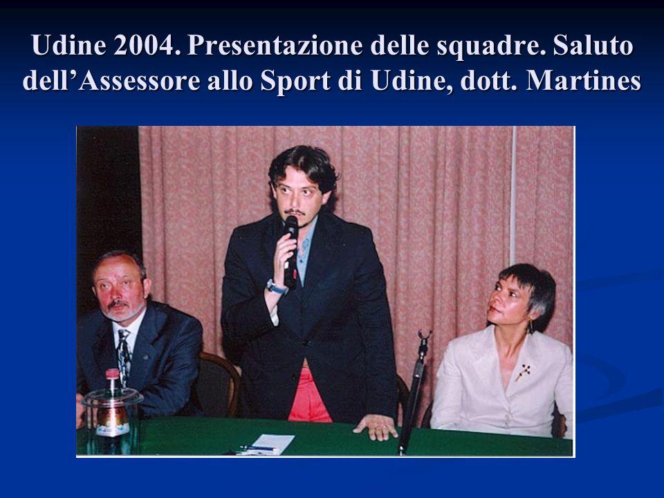 Udine 2004. Presentazione delle squadre. Saluto dell'Assessore allo Sport di Udine, dott. Martines