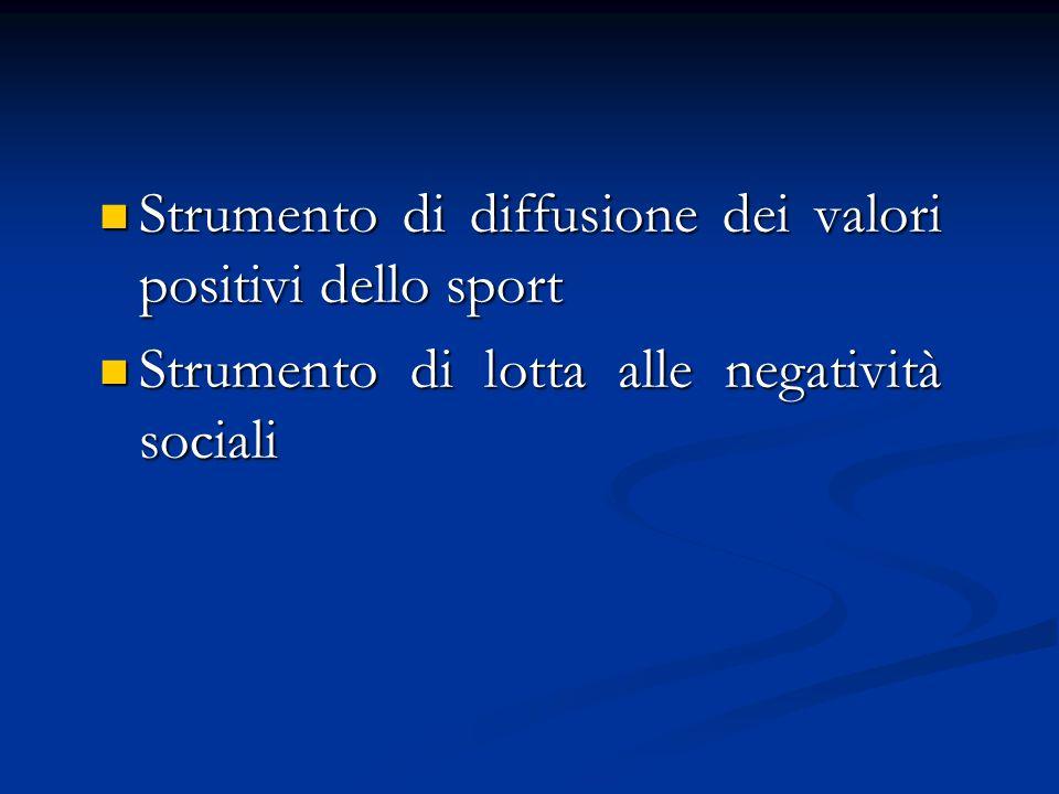Strumento di diffusione dei valori positivi dello sport Strumento di diffusione dei valori positivi dello sport Strumento di lotta alle negatività sociali Strumento di lotta alle negatività sociali