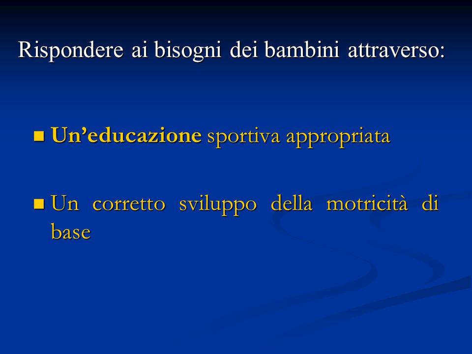 Un'educazione sportiva appropriata Un'educazione sportiva appropriata Un corretto sviluppo della motricità di base Un corretto sviluppo della motricit