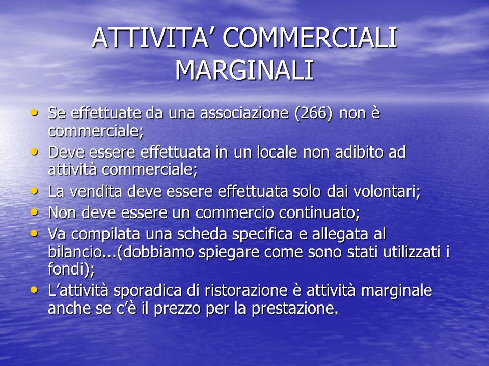 ATTIVITA' COMMERCIALI MARGINALI Se effettuate da una associazione (266) non è commerciale; Se effettuate da una associazione (266) non è commerciale;