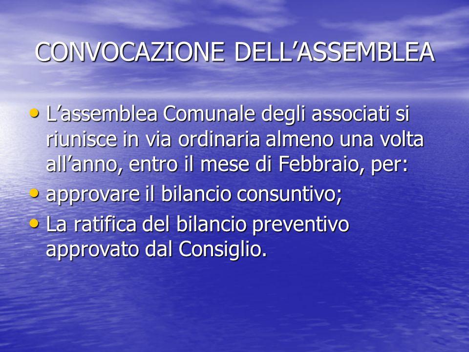 CONVOCAZIONE DELL'ASSEMBLEA L'assemblea Comunale degli associati si riunisce in via ordinaria almeno una volta all'anno, entro il mese di Febbraio, pe