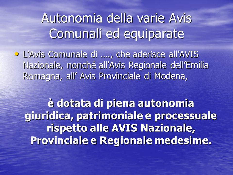 Autonomia della varie Avis Comunali ed equiparate L'Avis Comunale di …., che aderisce all'AVIS Nazionale, nonché all'Avis Regionale dell'Emilia Romagn