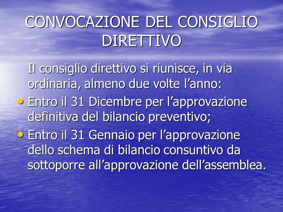 CONVOCAZIONE DEL CONSIGLIO DIRETTIVO Il consiglio direttivo si riunisce, in via ordinaria, almeno due volte l'anno: Entro il 31 Dicembre per l'approva