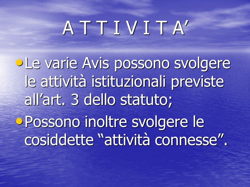 A T T I V I T A' Le varie Avis possono svolgere le attività istituzionali previste all'art. 3 dello statuto; Le varie Avis possono svolgere le attivit