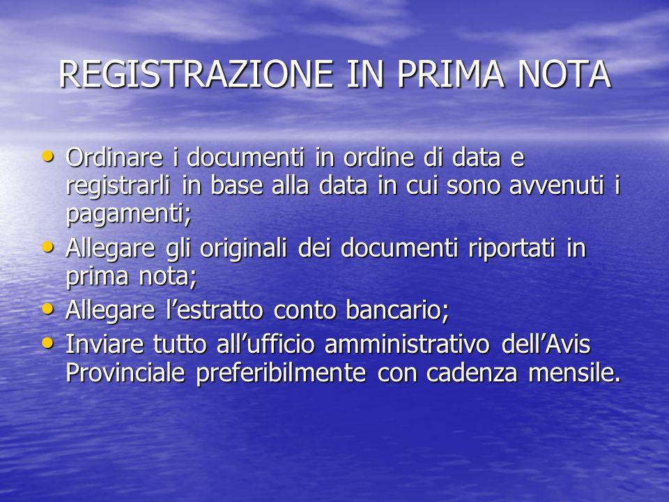REGISTRAZIONE IN PRIMA NOTA Ordinare i documenti in ordine di data e registrarli in base alla data in cui sono avvenuti i pagamenti; Ordinare i docume