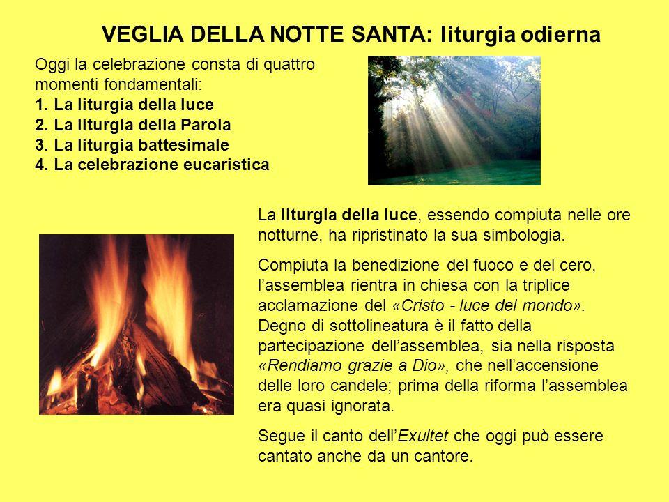 VEGLIA DELLA NOTTE SANTA: liturgia odierna Oggi la celebrazione consta di quattro momenti fondamentali: 1. La liturgia della luce 2. La liturgia della