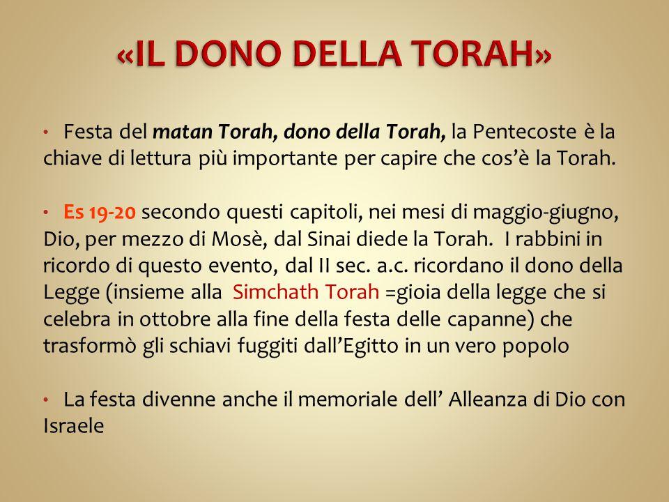 Festa del matan Torah, dono della Torah, la Pentecoste è la chiave di lettura più importante per capire che cos'è la Torah. Es 19-20 secondo questi ca