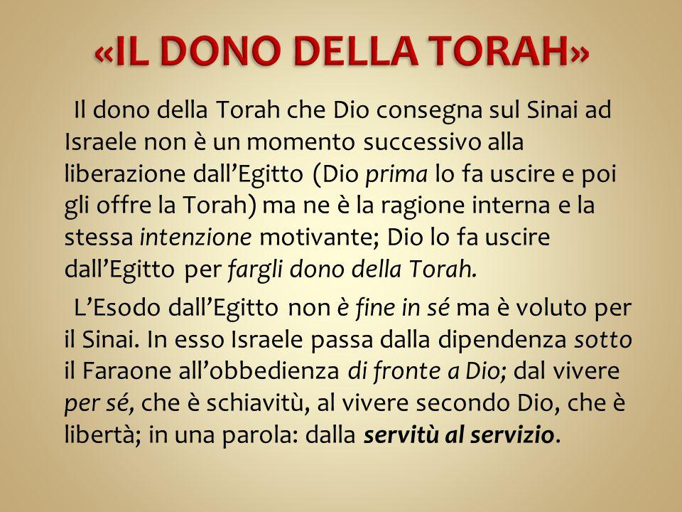 Il dono della Torah che Dio consegna sul Sinai ad Israele non è un momento successivo alla liberazione dall'Egitto (Dio prima lo fa uscire e poi gli o