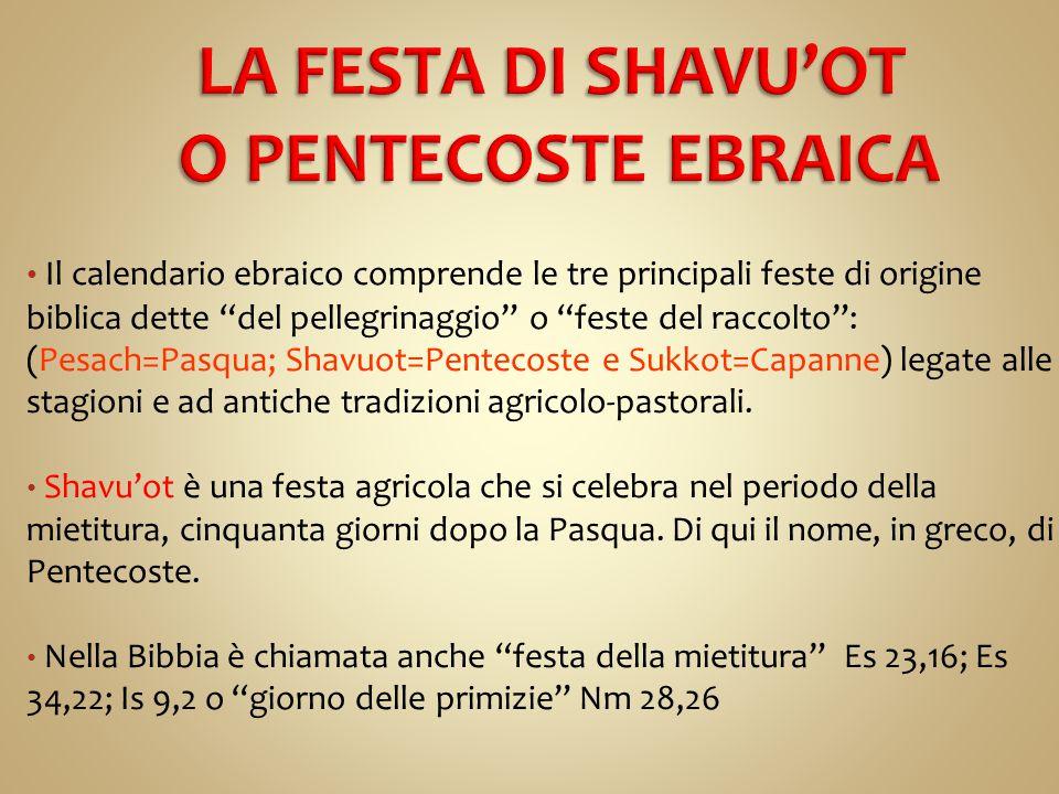 Shavu'ot vuol dire settimane e indica che la festa va celebrata per sette settimane,dopo la Pasqua, durante le quali si ringrazia Dio del raccolto e si offrono le primizie.