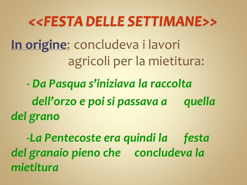 In origine: concludeva i lavori agricoli per la mietitura: - Da Pasqua s'iniziava la raccolta dell'orzo e poi si passava a quella del grano -La Pentec