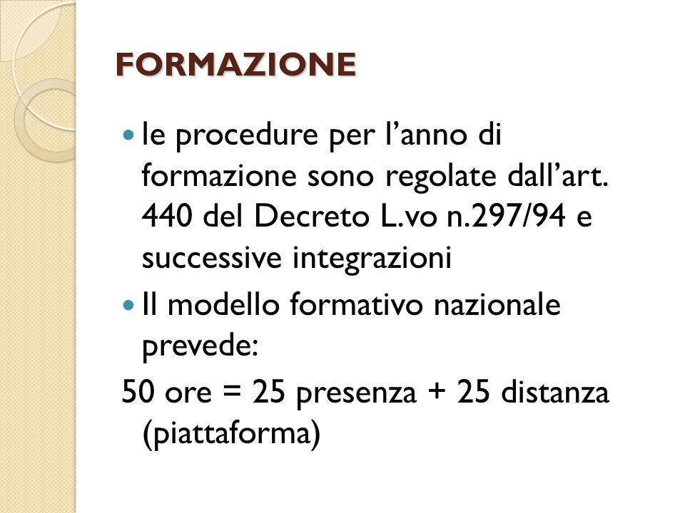FORMAZIONE le procedure per l'anno di formazione sono regolate dall'art. 440 del Decreto L.vo n.297/94 e successive integrazioni Il modello formativo