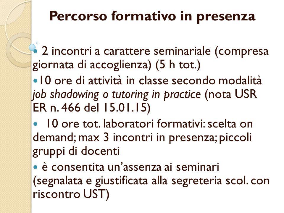 Percorso formativo in presenza 2 incontri a carattere seminariale (compresa giornata di accoglienza) (5 h tot.) 10 ore di attività in classe secondo m