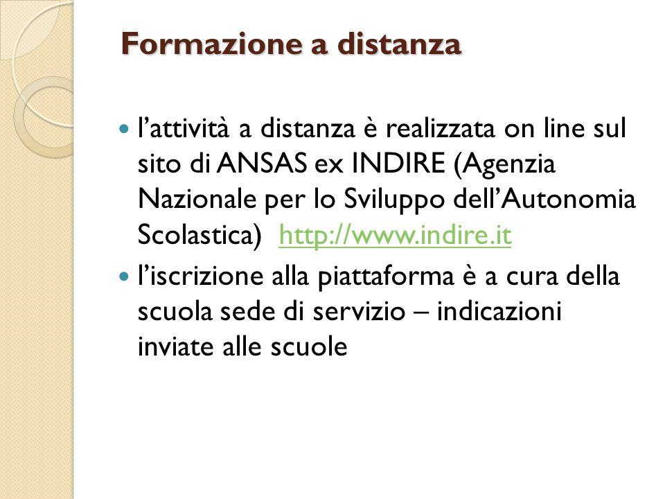 Formazione a distanza l'attività a distanza è realizzata on line sul sito di ANSAS ex INDIRE (Agenzia Nazionale per lo Sviluppo dell'Autonomia Scolast