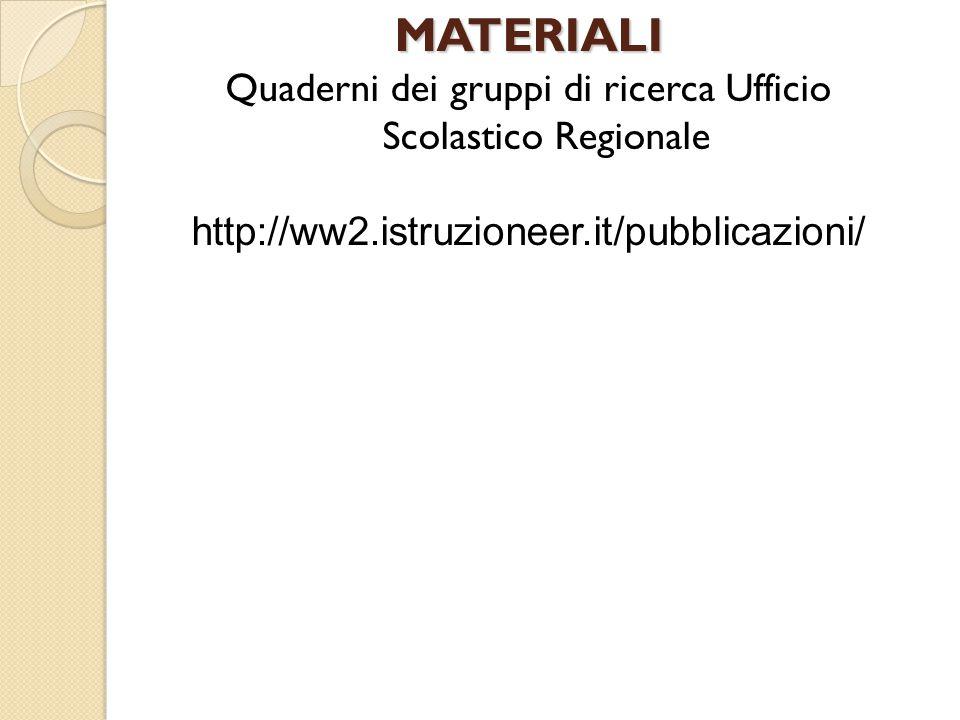 MATERIALI Quaderni dei gruppi di ricerca Ufficio Scolastico Regionale http://ww2.istruzioneer.it/pubblicazioni/