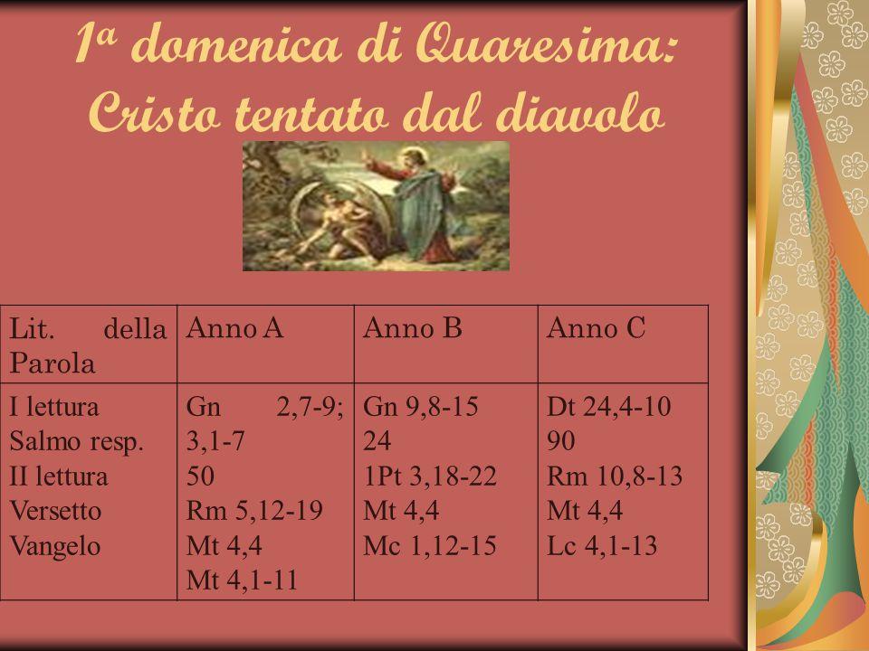 1 a domenica di Quaresima: Cristo tentato dal diavolo Lit. della Parola Anno AAnno BAnno C I lettura Salmo resp. II lettura Versetto Vangelo Gn 2,7-9;